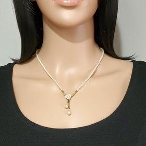 1928 Faux Pearl Lavalier Necklace